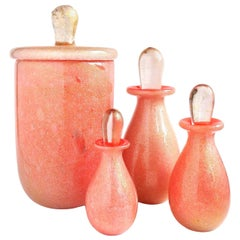 Murano Coral Orange Gold Leaf Italian Art Glass Jar Bottles Bathroom Vanity Set