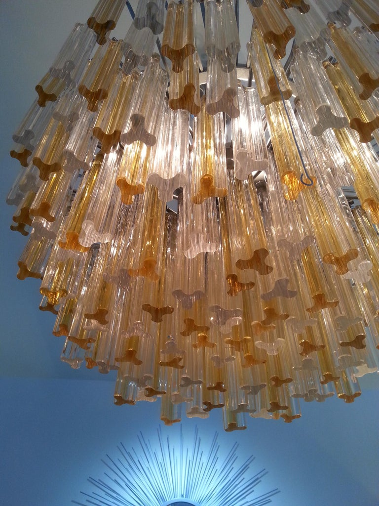 Hand-Crafted Murano Glass Crystal Chandelier by Venini For Sale