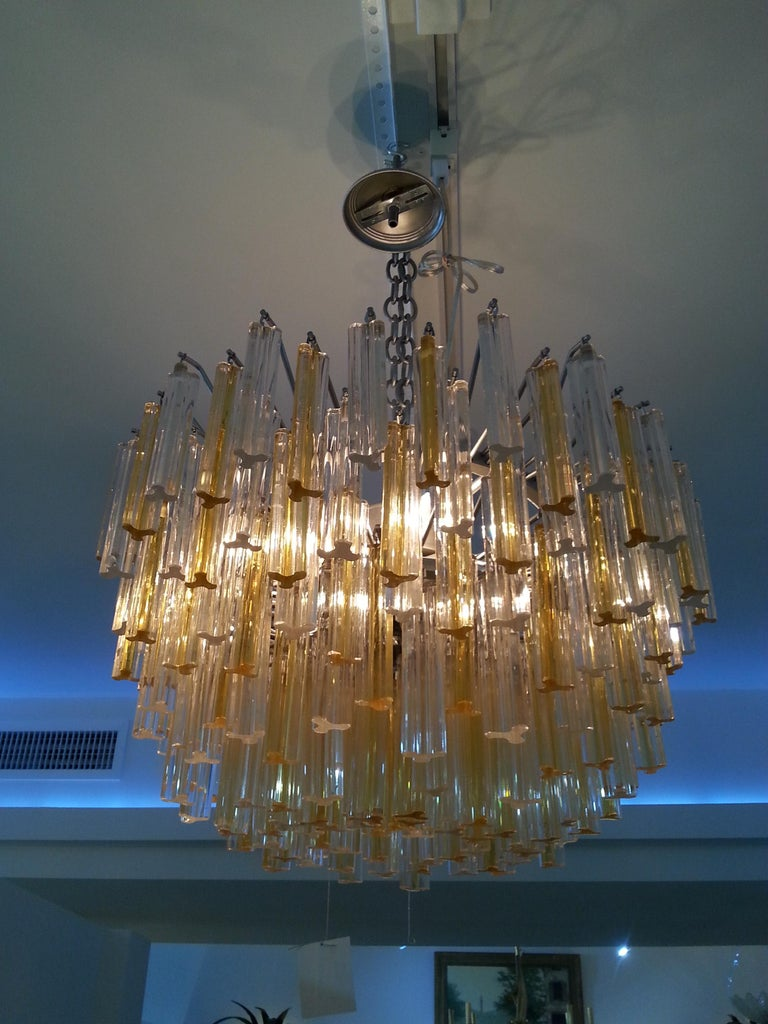 20th Century Murano Glass Crystal Chandelier by Venini For Sale