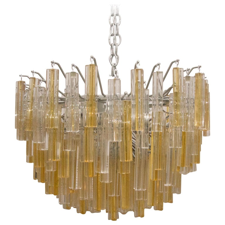 Murano Glass Crystal Chandelier by Venini For Sale