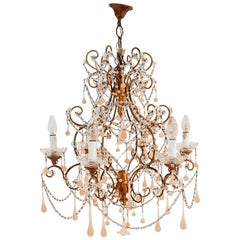 Murano Crystal Drop and Macaroni Chandelier