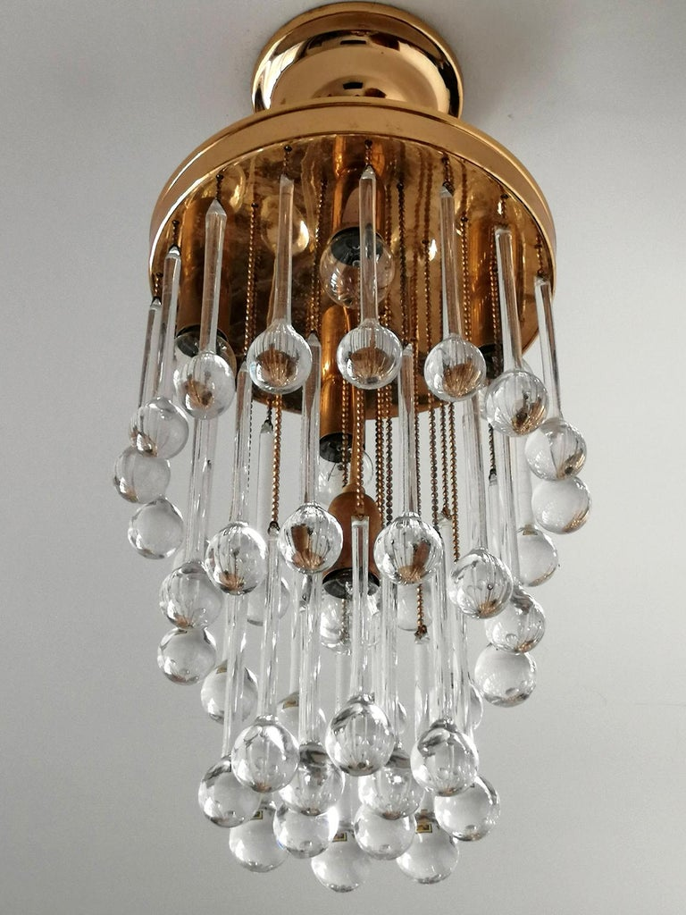 Murano Crystal Glass Drop Waterfall and Gilt Brass Venini Style Chandelier For Sale 7