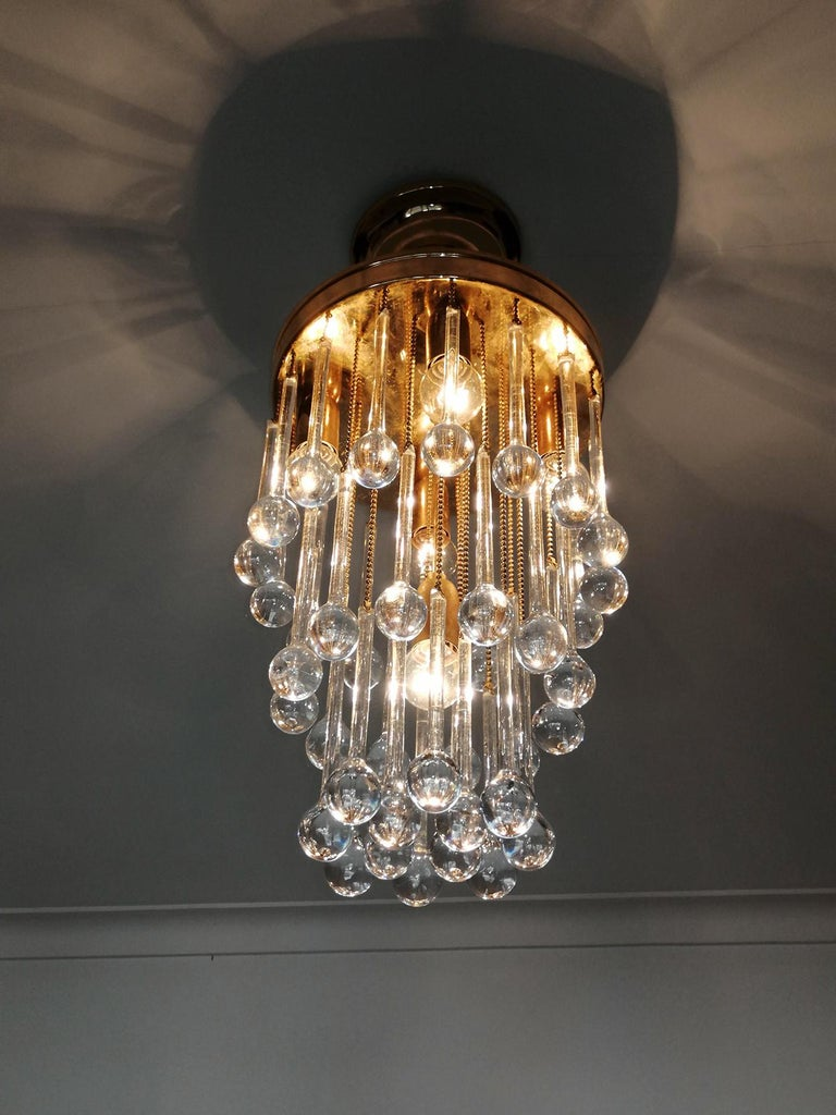 Murano Crystal Glass Drop Waterfall and Gilt Brass Venini Style Chandelier For Sale 8