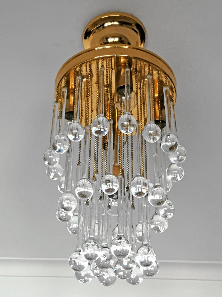 German Murano Crystal Glass Drop Waterfall and Gilt Brass Venini Style Chandelier For Sale