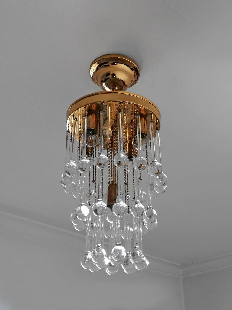 Late 20th Century Murano Crystal Glass Drop Waterfall and Gilt Brass Venini Style Chandelier For Sale