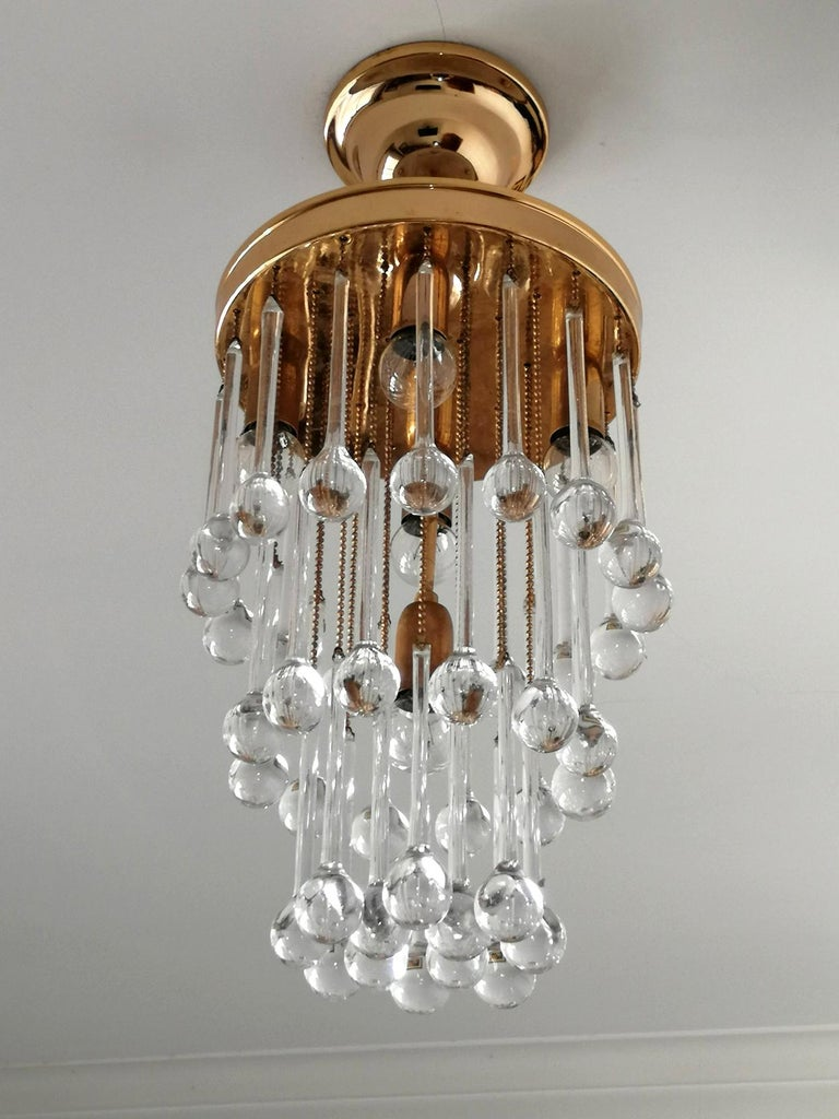 Murano Crystal Glass Drop Waterfall and Gilt Brass Venini Style Chandelier For Sale 1