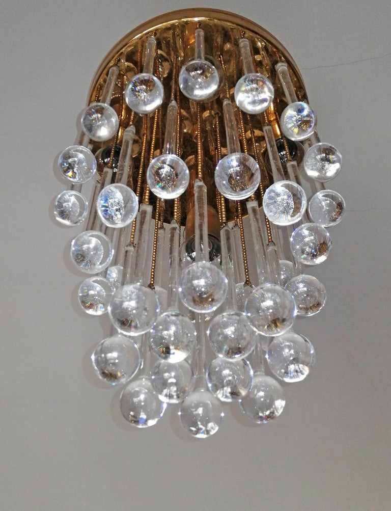 Murano Crystal Glass Drop Waterfall and Gilt Brass Venini Style Chandelier For Sale 2