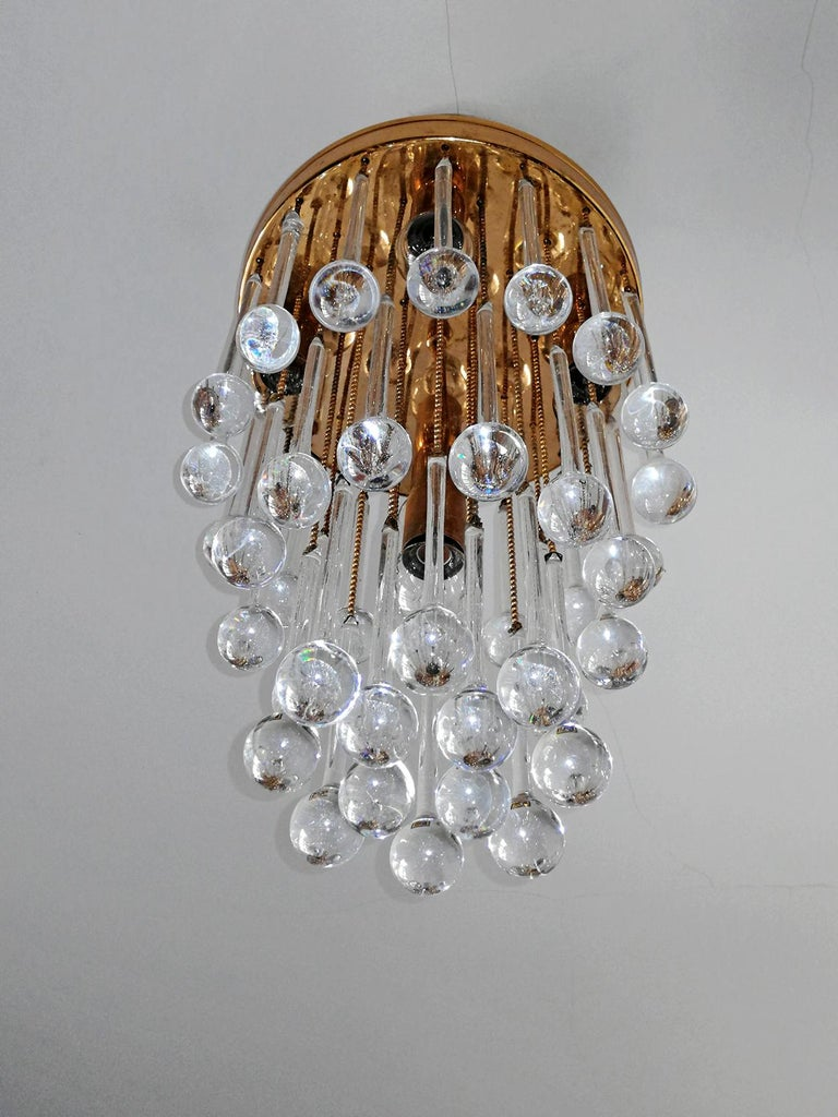 Murano Crystal Glass Drop Waterfall and Gilt Brass Venini Style Chandelier For Sale 3