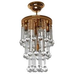 Murano Crystal Glass Drop Waterfall and Gilt Brass Venini Style Chandelier