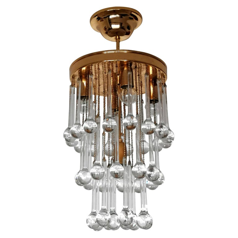 Murano Crystal Glass Drop Waterfall and Gilt Brass Venini Style Chandelier For Sale