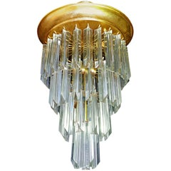 Murano Crystal Glass Prisms Waterfall & Gilt Brass Venini Camer Style Chandelier
