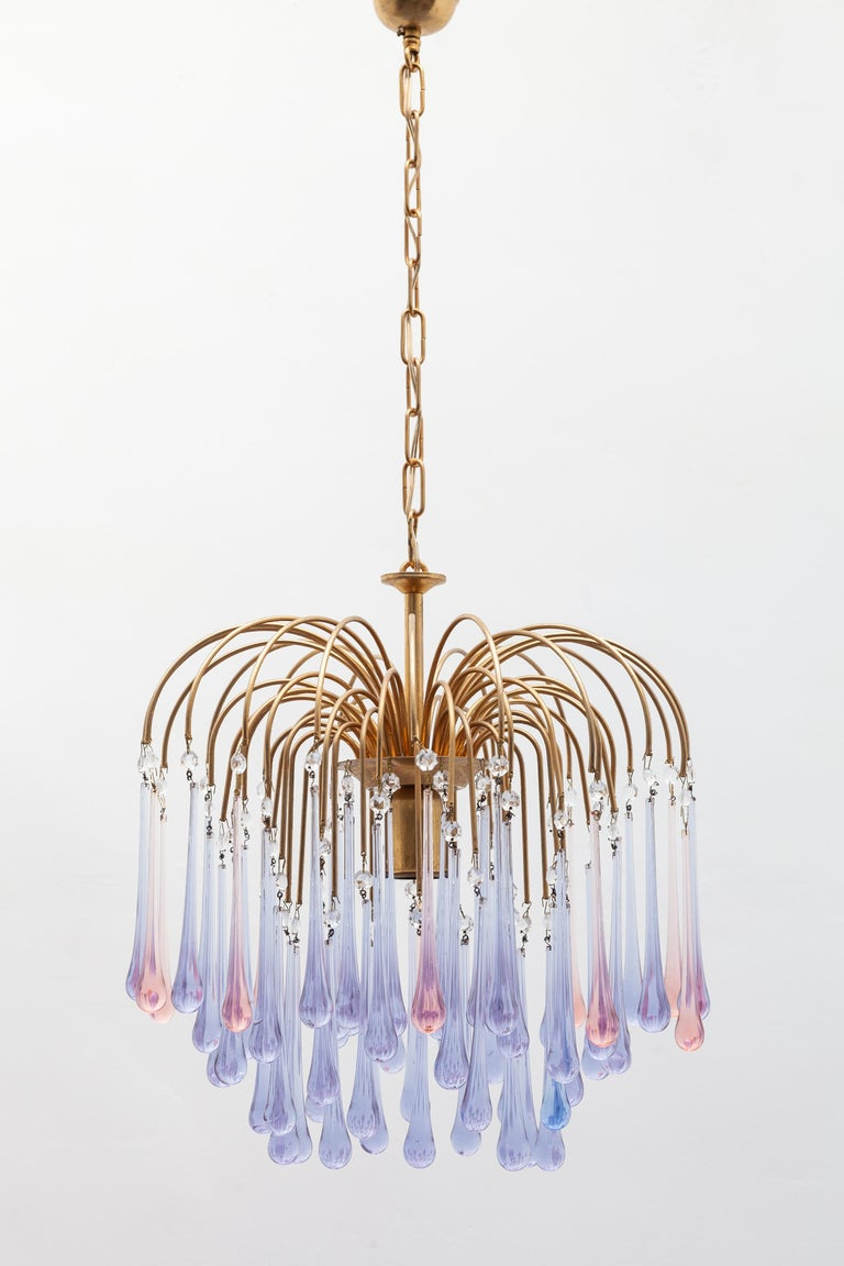 Hollywood Regency Murano Crystal Lavender, Pink Teardrop Waterfall Chandelier For Sale