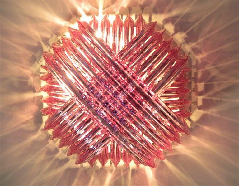 Blown Glass Murano Curvati ceiling linght, PINK Triedri, 20 murano glasses
