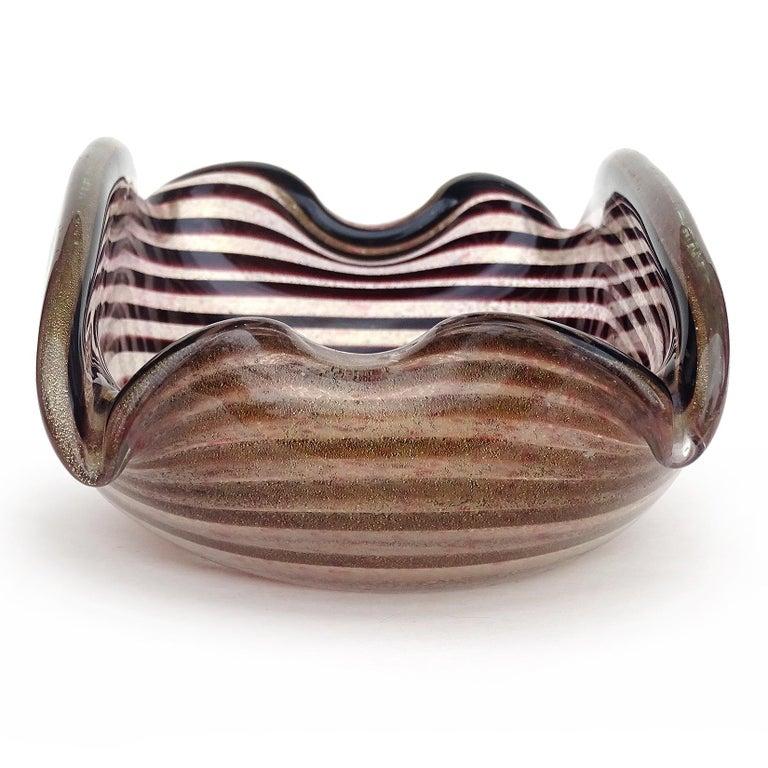 Hand-Crafted Murano Dark Purple Optic Swirl Gold Flecks Italian Art Glass Bowl Dish Ashtray For Sale