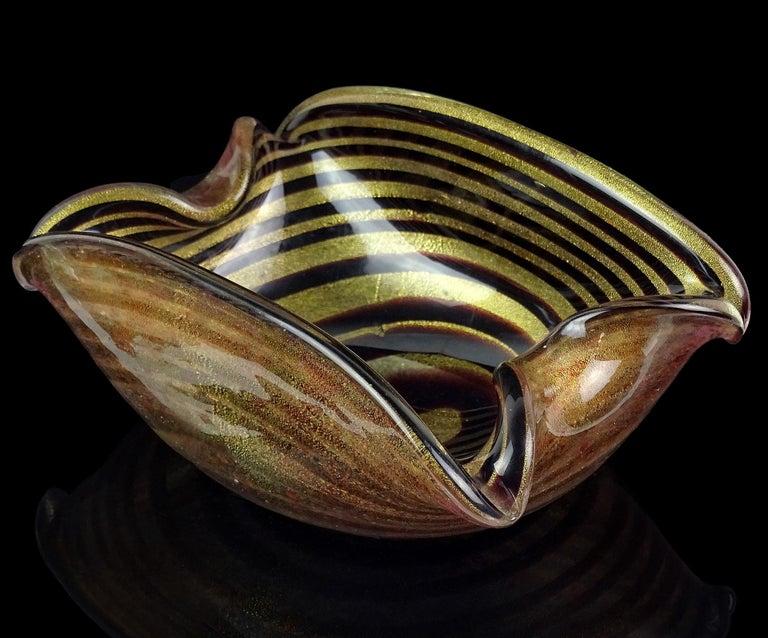 Murano Dark Purple Optic Swirl Gold Flecks Italian Art Glass Bowl Dish Ashtray For Sale 1