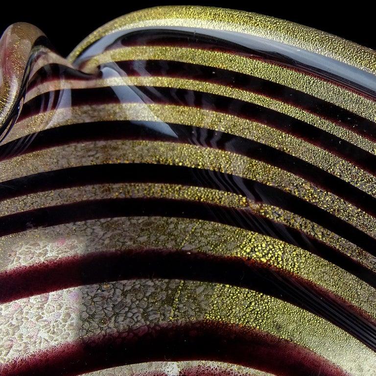 Murano Dark Purple Optic Swirl Gold Flecks Italian Art Glass Bowl Dish Ashtray For Sale 2