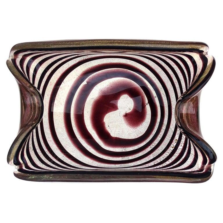 Murano Dark Purple Optic Swirl Gold Flecks Italian Art Glass Bowl Dish Ashtray For Sale