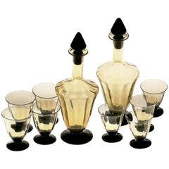 Murano Deco Cherry Set, Fume Glass, Nason & Moretti 2 Bottles and 8 Glasses