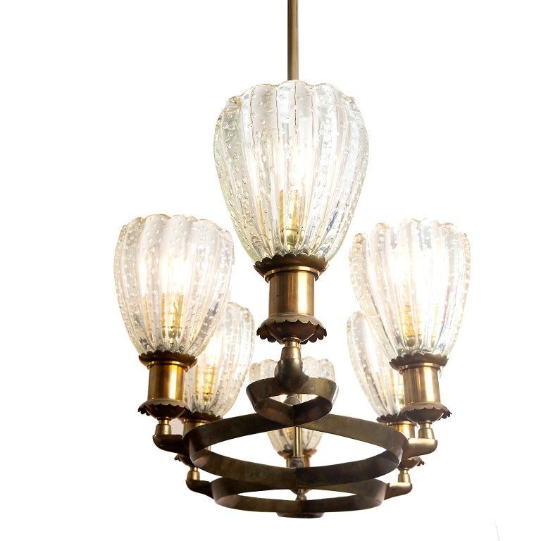 Art Deco Murano Deco Pendant Light Attributed to Barovier & Toso, Italy For Sale