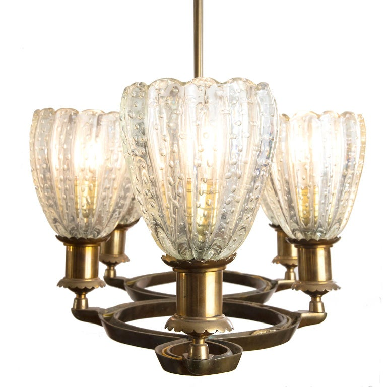 Italian Murano Deco Pendant Light Attributed to Barovier & Toso, Italy For Sale