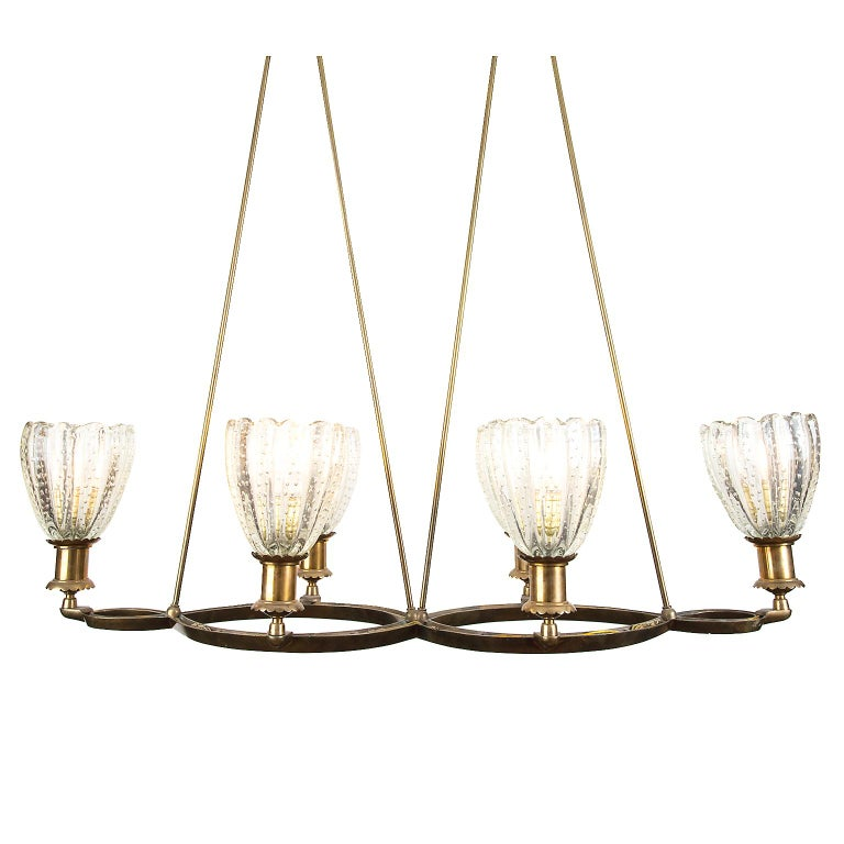 Murano Deco Pendant Light Attributed to Barovier & Toso, Italy For Sale 1