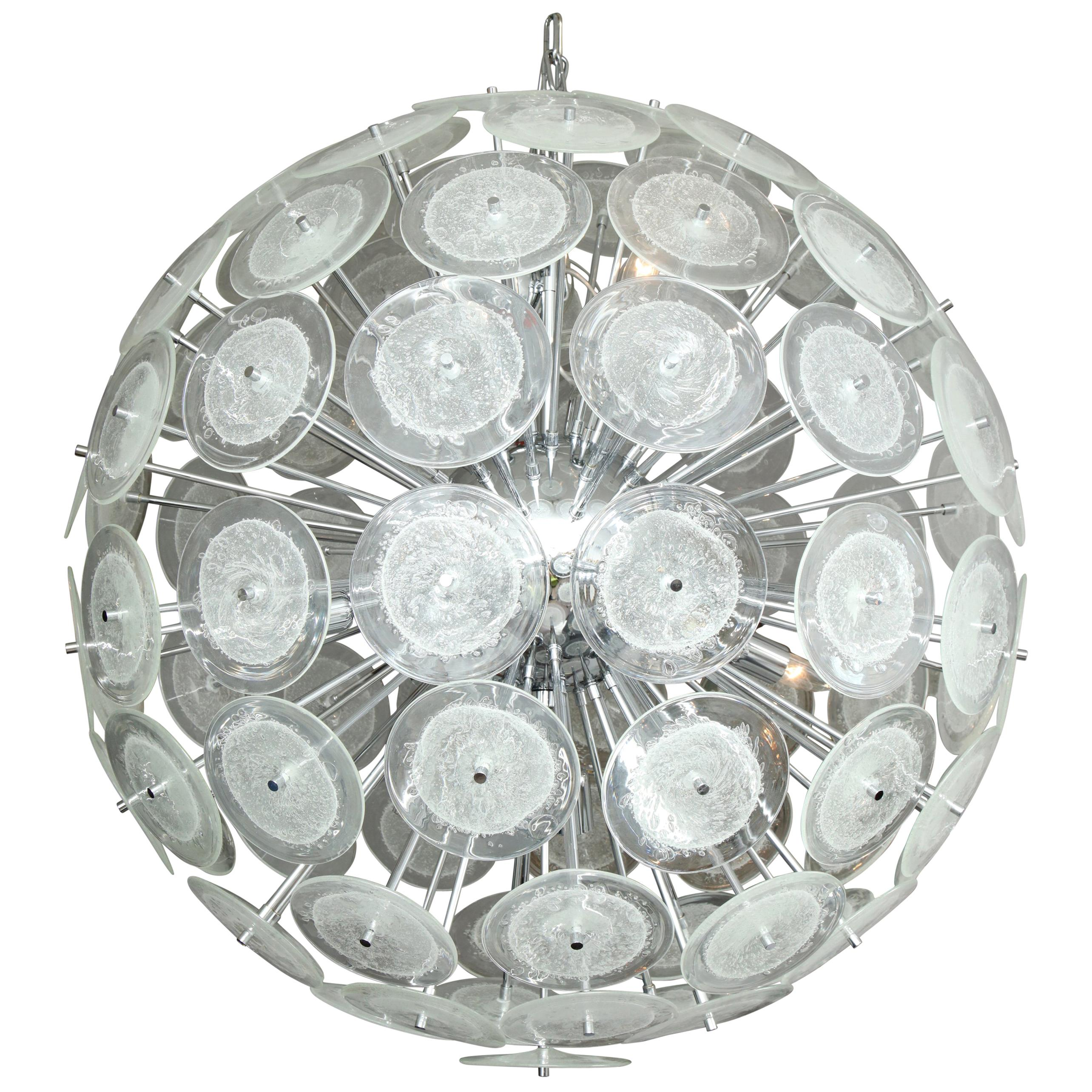 Large Clear Bubble Murano Glass Disc Sputnik Chandelier