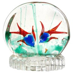 Murano Double Side Two-Color Fish Italian Aquarium Sculpture Paperweight