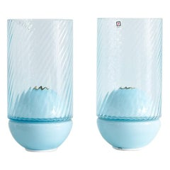 Murano Due Lamps in Blue, Pair