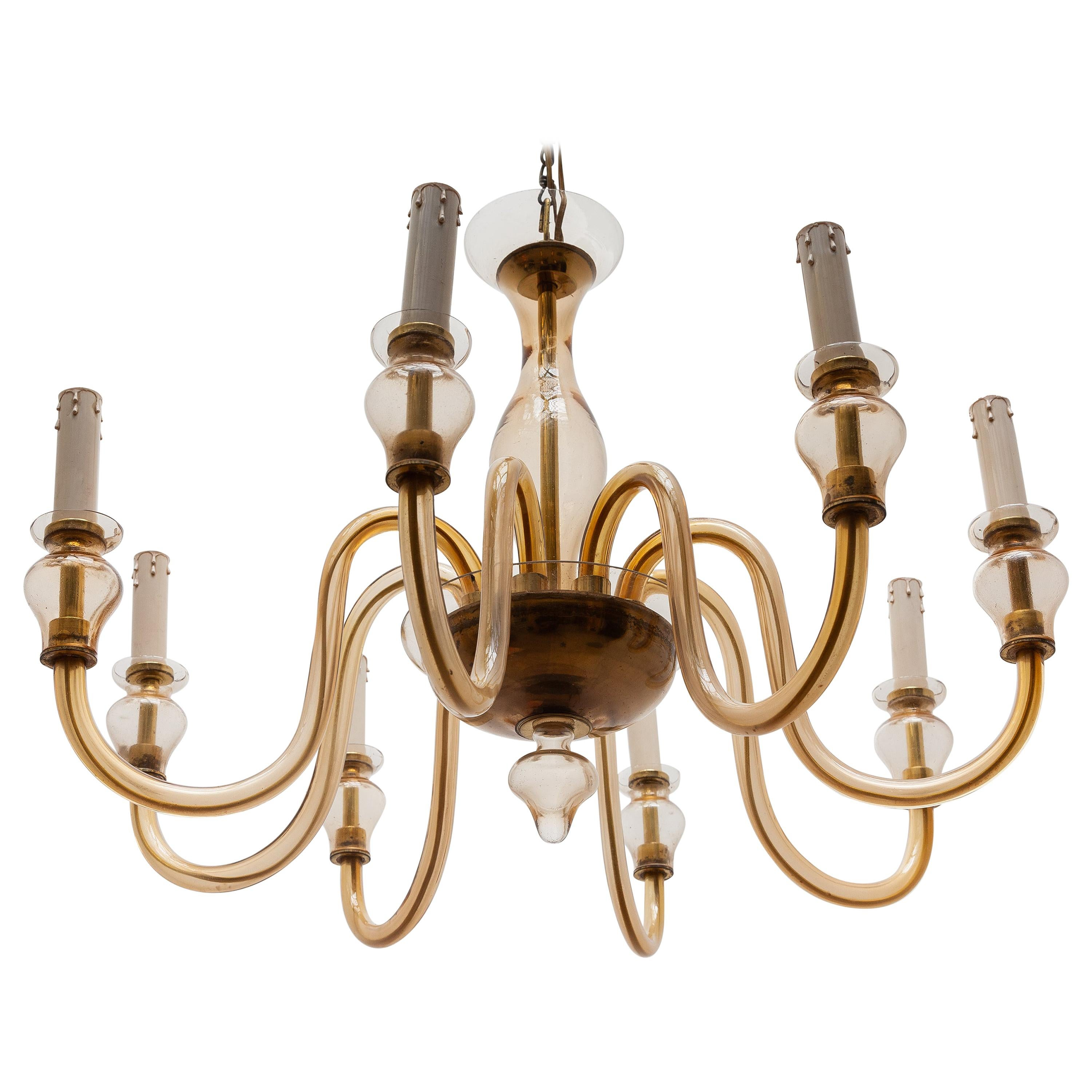 Murano Eight-Arm Hollywood Regency Glass Chandelier, Italy, 1950s