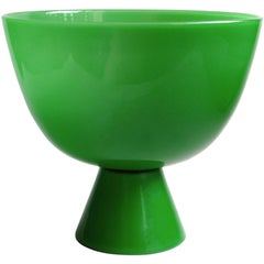 Murano Emerald Green Italian Art Glass Footed Centerpiece Compote Bowl Vase