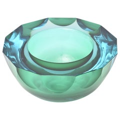 Murano Faceted Sommerso Geode Glass Caviar Bowl Italian Vintage