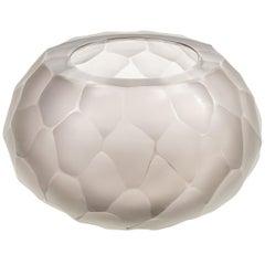 "Murano Facetted Gray Glass ""Battuto"" Vase Signed Alberto Dona, Italy, 2017"