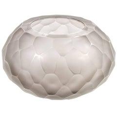 "Murano Facetted Gray Glass ""Battuto"" Vase signed Alberto Dona, Italy 2017"