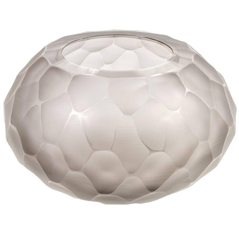 "Murano Facetted Gray Glass ""Battuto"" Vase signed Alberto Dona, Italy 2017 For Sale"