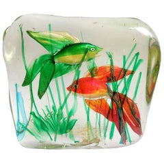 Murano Fancy Red and Green Gold Fish Italian Art Glass Aquarium Sculpture