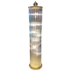 Murano Floor Lamp with Clear Glass Rods, Column Shape, 1980s
