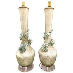 Murano Flower Lamps, Pair
