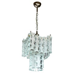 Murano Fontana Arte Attributed to Etched Glass Pendant Chandelier Vintage
