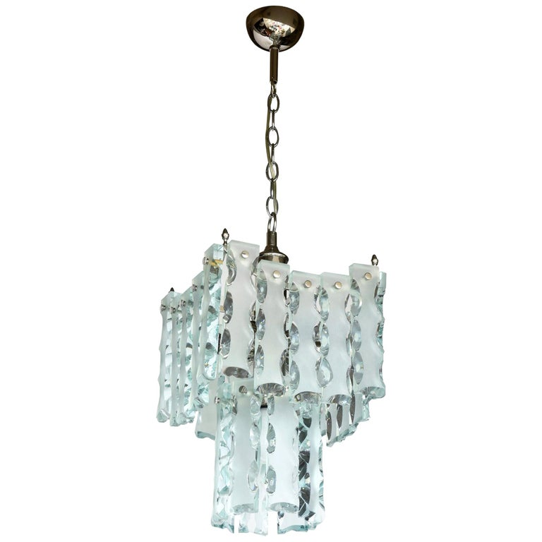 Murano Fontana Arte Attributed to Etched Glass Pendant Chandelier Vintage For Sale