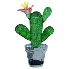 Murano Formia for Marta Marzotto Green Art Glass Cactus Plant, 1990