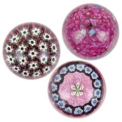Murano Fratelli Toso and Barbini Murrine Flowers Italian Art Glass Paperweights