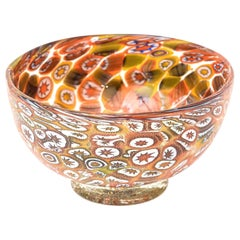 Murano Fratelli Toso Orange, Purple, Blue, Yellow, Green Murrine Glass Bowl