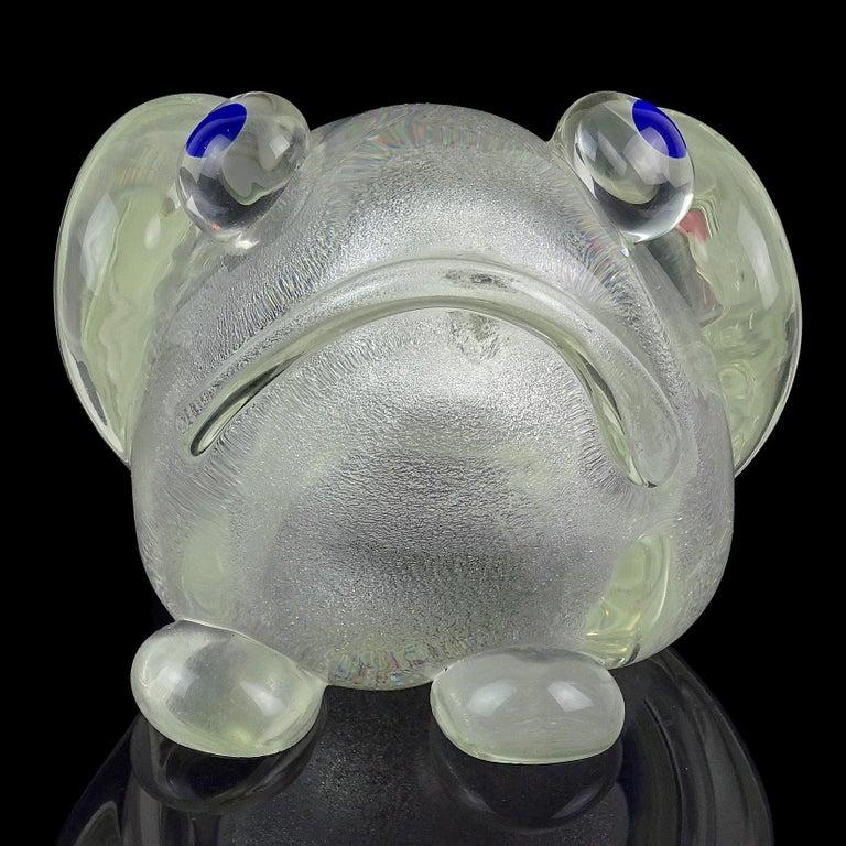Hand-Crafted Murano Gambaro Poggi Silver Flecks Italian Art Glass Frog Sculpture Paperweight