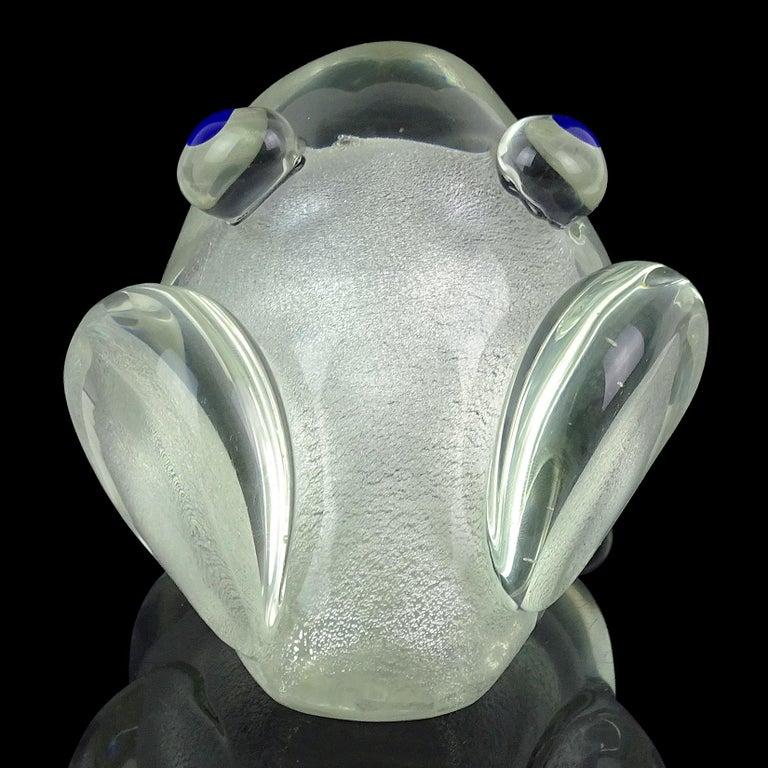 20th Century Murano Gambaro Poggi Silver Flecks Italian Art Glass Frog Sculpture Paperweight