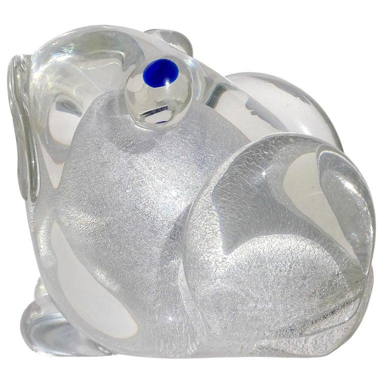 Murano Gambaro Poggi Silver Flecks Italian Art Glass Frog Sculpture Paperweight