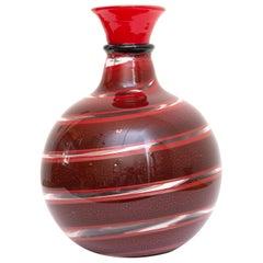 Murano Garnet Red Swirl Vase