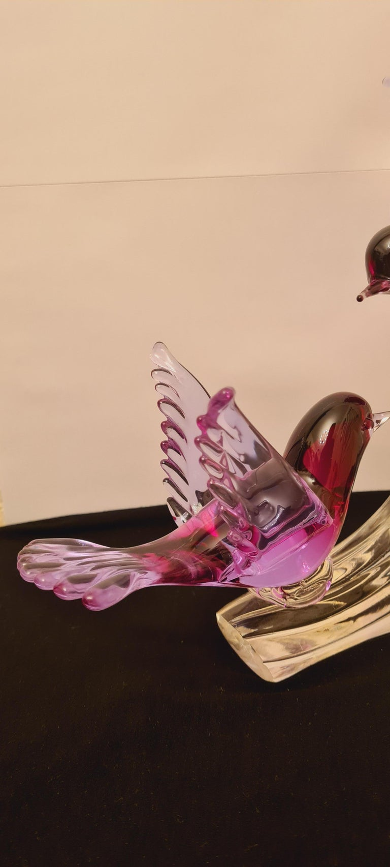 Murano Glass Alexandrite Neodymium Birds on The Branch Signed by Renato Anatra In Excellent Condition For Sale In Grantham, GB