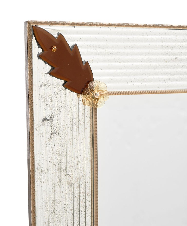 French Murano Glass Amber Leaf Mirror by Fuga For Sale
