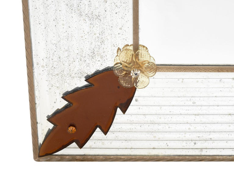 Late 20th Century Murano Glass Amber Leaf Mirror by Fuga For Sale