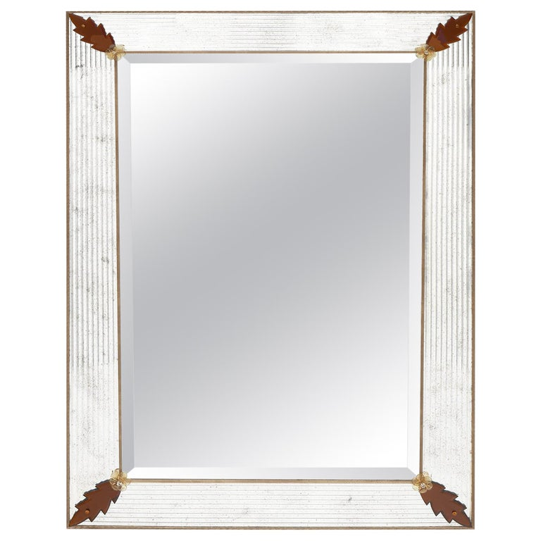 Murano Glass Amber Leaf Mirror by Fuga For Sale